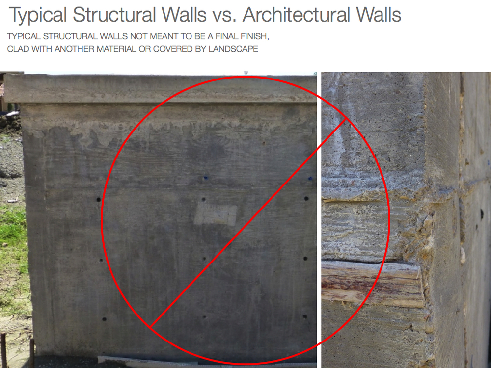 Cast in place smooth architectural concrete walls In the