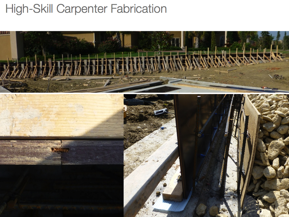 higher skilled carpentry on smooth architectural concrete wall formwork