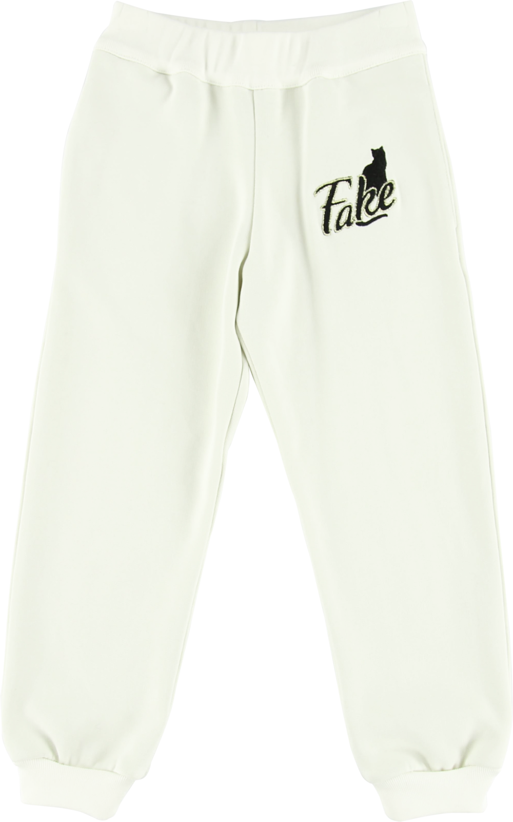 MODEL | 203  STYLE | 25-1 CO FLEECE OFF WHITE  track pants with embroidered fake logo 100% co