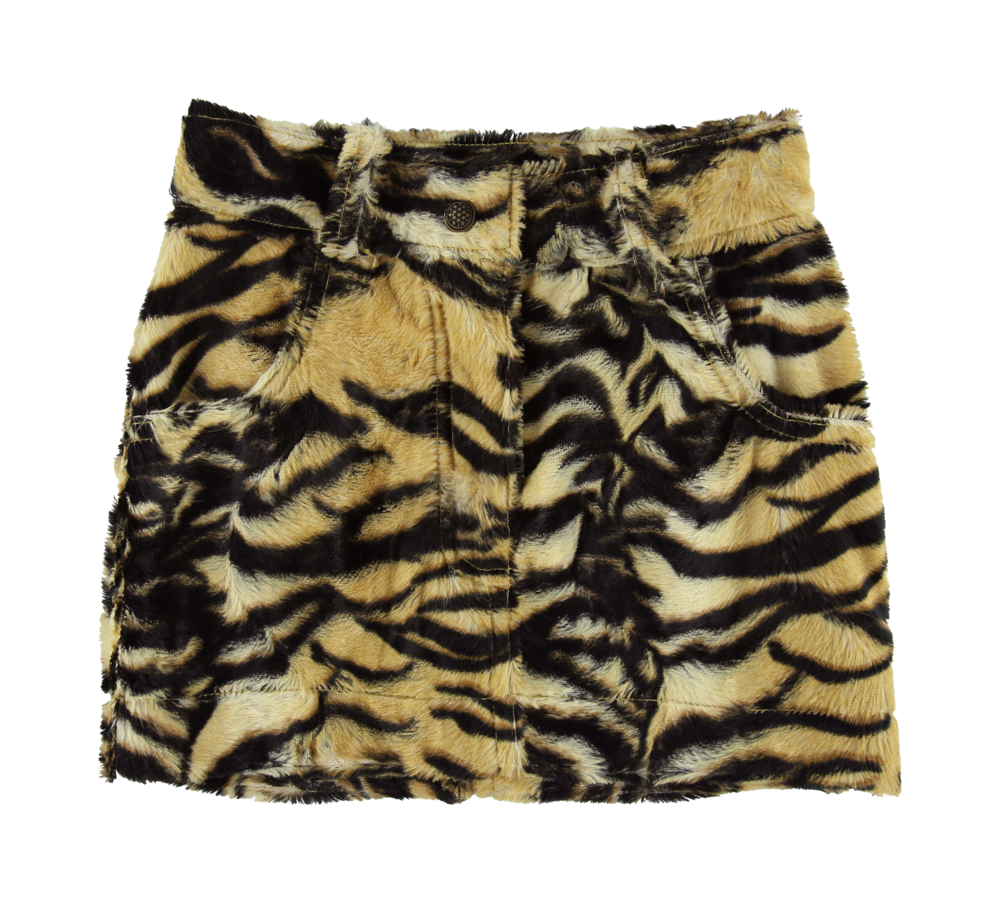 MODEL | 302  STYLE | 3 TIGER  printed fake hairy skin miniskirt starts at size 4 48% co - 37% vi - 15% md