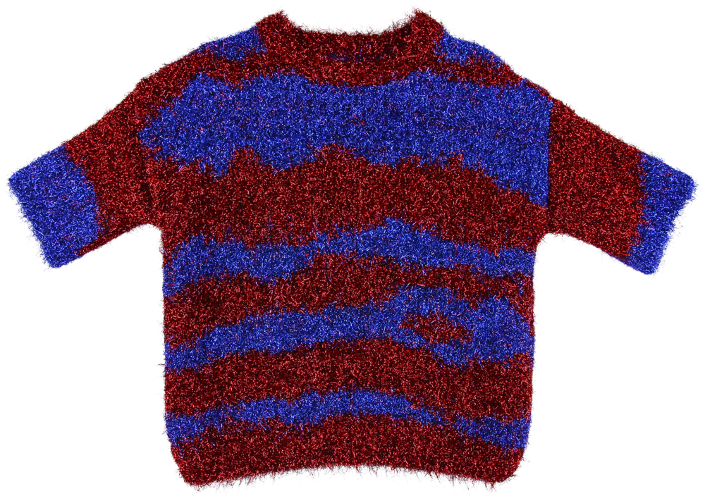 MODEL | 703  STYLE | 008 RED/BLUE  sparkling knitted sweater with leopard skin pattern (long haired) 58% nylon - 42% pl