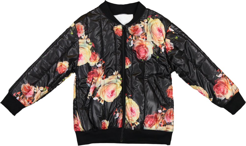 MODEL | 109  STYLE | 2 MAT FLOWER BLACK  matelassé bomber jacket