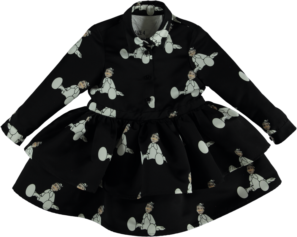 MODEL | 410  STYLE | 35 PL AUWCH BLACK  layered high quality printed dress  up to size 12
