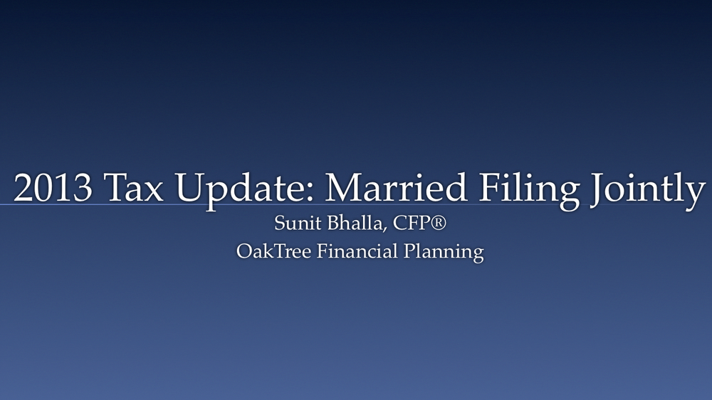 2013 Tax Update (Married Filing Jointly)