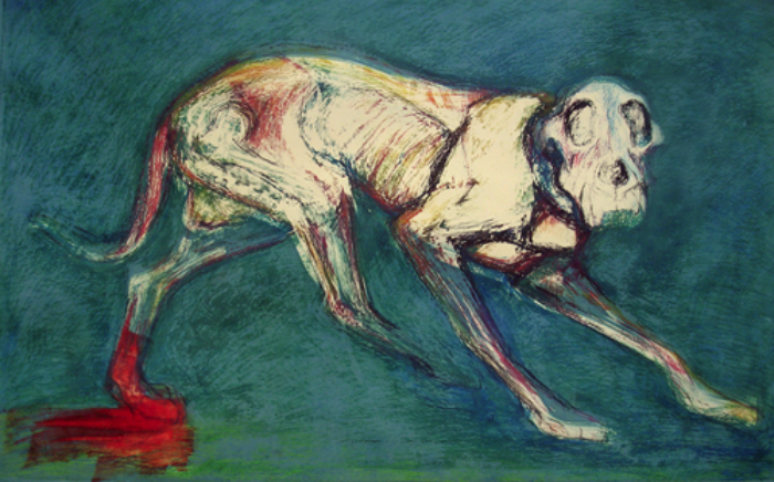 "Walking Dog With Bleeding foot             monoprint, image: 27"" x 14"", price on request  giclee available"