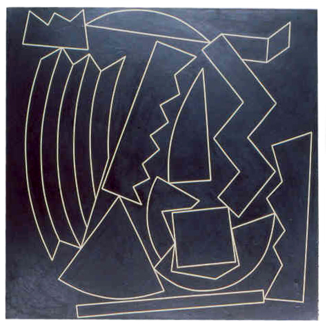 "white tape on black acrylic   canvas 36"" x36""  collection of the artist"