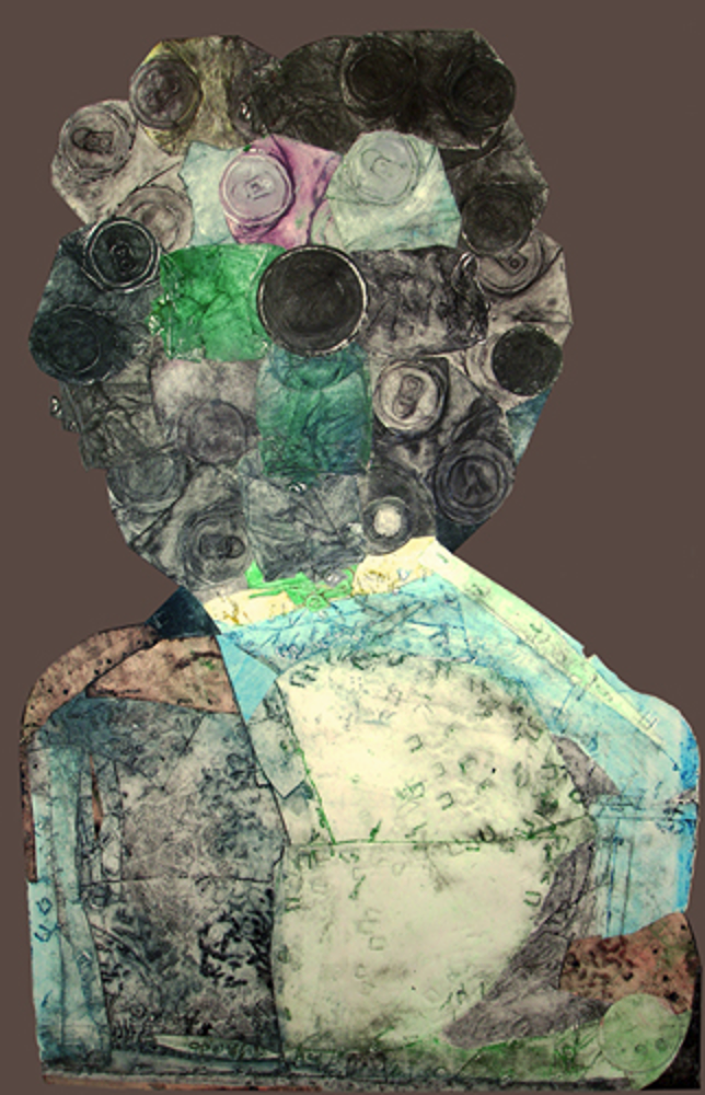 "Personage #6, Can Head  collagraph and collage,  40"" x 27""  (1994)                   price on request, giclee prints available"