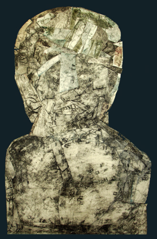 "Personage #5                     collagraph and collage, 40"" x 27""  (1993)                  price on request,  giclee prints available"