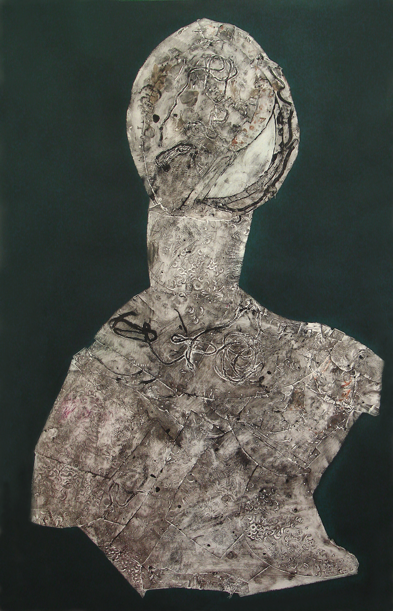 "Personage  collagraph, 40"" x 24""  price on request"