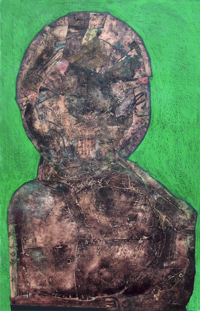 "Personage#3       collagraph and collage,  38"" x 24""  price on request, giclee prints available"
