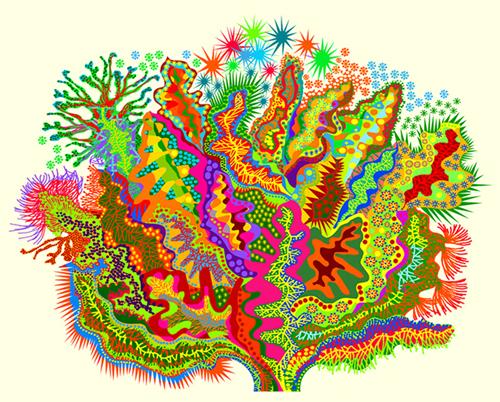 "Alien Beauty   computer generated, image 24"" x 19.5"" on 32"" x 29"" somerset velvet  edition of 10.                                                                   price on request"