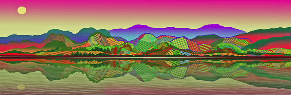 "Hudson River Odyssey   computer generated, image 10"" x 30"" on 17"" x 36"" somerset velvet  edition of 10.                                                               price on request"