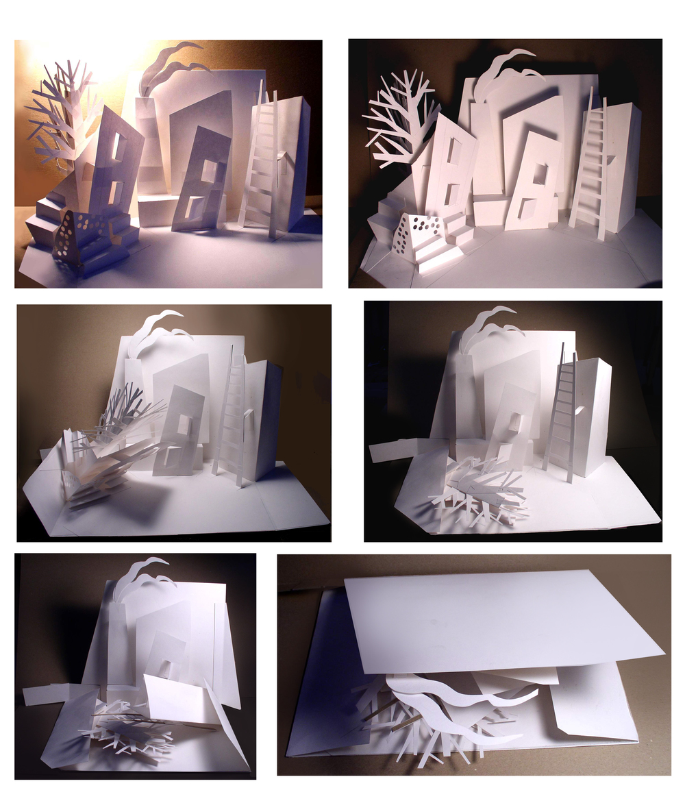 Stage set design on paper engineered page (pop up page)   sequence