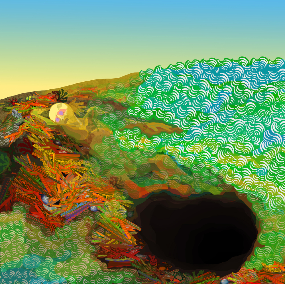 "The Man Who Climbed Out of a Hole   computer generated, image  24"" x 24"" on 30"" x 30"" somerset velvet  price on request                                                                    edition of 5"
