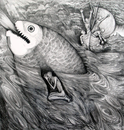 "Jonah and The Great Fish  Pencil, 30"" x 30"" Biblical Interpretations revisited, 1 of 6  2005: Princeton Theological Seminary, Princeton nJ  1999: Treasury Room, The Inter-church Center, NYC             The Gallery at Presbyterian church, Franklin Lakes, NJ"