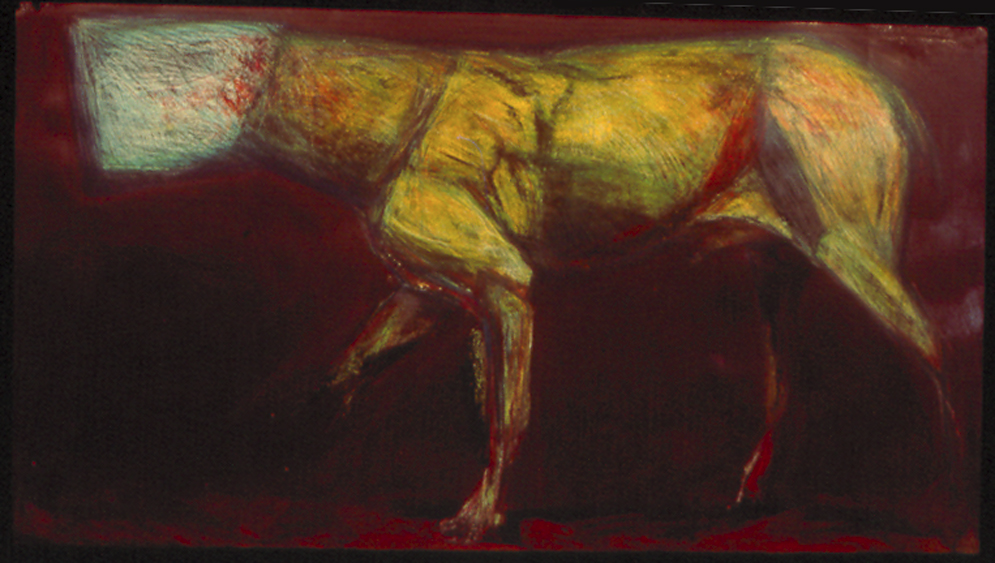 "Hooded Dog Facing Left   monoprint, image: 48"" x 24""  not available"