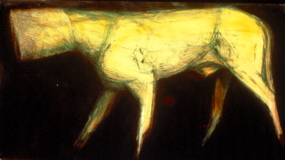 "Hooded Dog Facing Left #2   monoprint, image: 48"" x 24"" , price on request  giclee prints available"