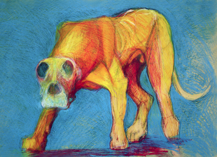 "Standing Dog #2   monoprint, image: 27"" x 17"", price on request         giclee prints available"