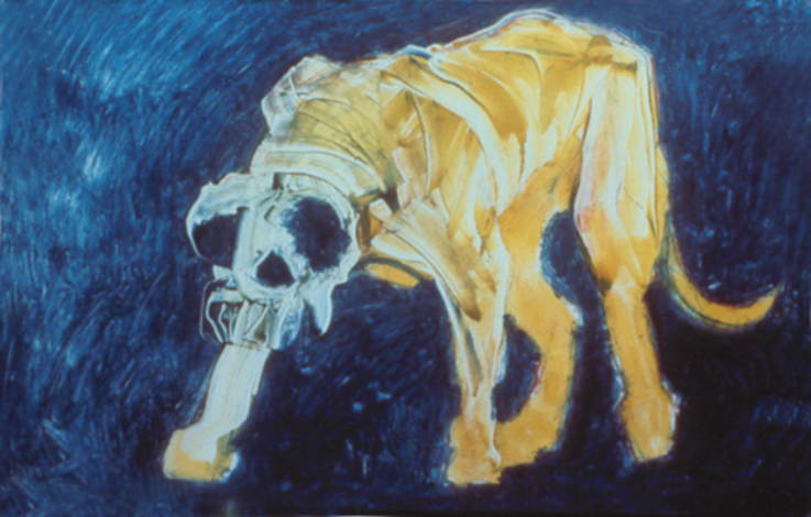 "Yellow Dog on Blue Field  monoprint, image: 27"" x 17"",      private collection"