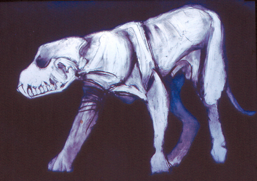"Standing Dog #3   monoprint, image: 27"" x 17""  private collection"