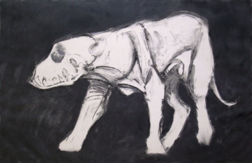 "Black and White Standing Dog   monoprint, image: 27"" x17"", price on request  giclee prints available"