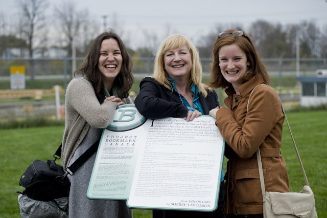 Keen readers Kate Burgess and Kate Icely celebrate with author Sheree-Lee Olson at the launch of the Bookmark for Sailor Girl at Lock 8 in Port Colborne.