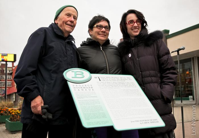 Don Shields, Councillor Jenny Gerbasi and Miranda Hill atThe Republic of Love Bookmark.