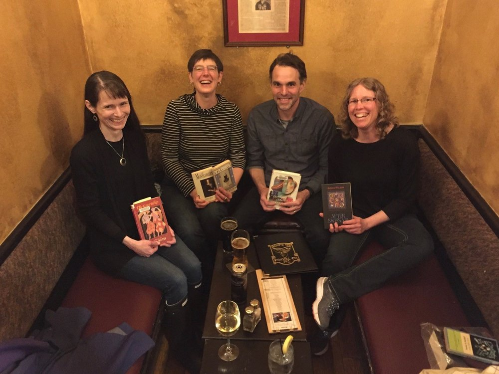 Project Bookmark Halifax Reading Group: Sarah Emsley, Marianne Ward, Alexander MacLeod, and Naomi MacKinnon. Missing from the photo are Susanne Marshall, Carol McDougall, and David Wilson.