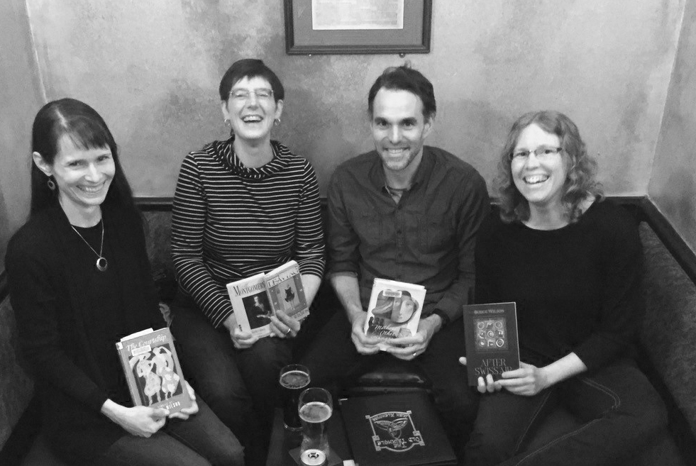 Project Bookmark Halifax Reading Group: Sarah Emsley, Marianne Ward, Alexander MacLeod, and Naomi MacKinnon. Missing from the photo are Susanne Marshall, Carol McDougall, and David Wilson. Monthly meetings are at the Old Triangle Pub.