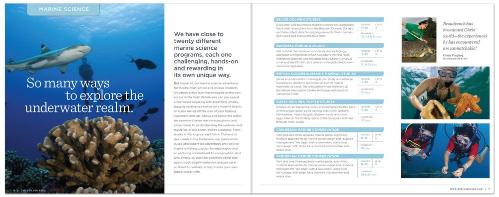 Publication Design. Broadreach Global Summer Educational Adventures, Raleigh, NC