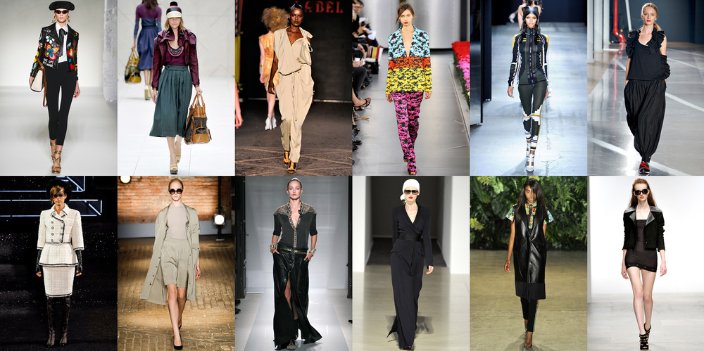 Top (L-R) Moschino, Burberry Prorsum, Vivienne Westwood Red Label, Mary Katrantzou, Alexander Wang, Y-3   Bottom (L-R) Chanel, Yigal Azrouel, Balmain, Temperley London, Altuzarra, Felder Felder