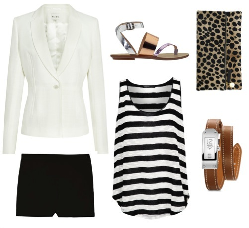 Foldover clutch   by Clare Vivier.    Off-white blazer   by Reiss.    Twill micro shorts   by Theory.    Striped tank   by Mango.    Silver and copper sandals   by Loeffler Randal, from Piperlime.    Wrap watch   by Hermes.