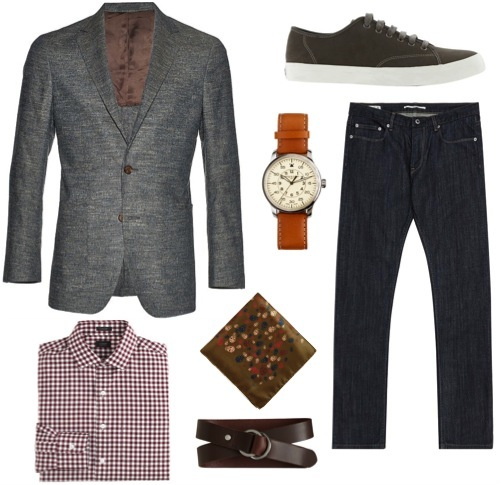 Blue textured linen/silk blazer   by Suitsupply.    Gingham shirt   by J. Crew.    Dark wash jeans   by Reiss.    Skull-print pocket square   by Alexander McQueen.    Leather strap watch   by Mougin & Piquard for J. Crew.    Grey suede sneakers  ,   d-ring belt   by Banana Republic.