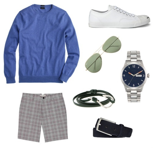 Cotton/cashmere crewneck sweater   by J. Crew.    Grey check shorts   by Reiss.    Navy suede belt   by Suitsupply.    Aviator sunglasses   by Ray-Ban for J. Crew.    Watch   by Jack Spade.    Leather hook bracelet   by Miansai.    Jack Purcell leather sneakers   by Converse.