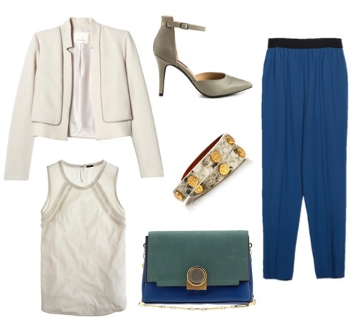 High-waist trousers   by Zara.    Cropped double layer jacket   by Rebecca Taylor.    Cotton/organza tank   by J. Crew.    Grey ankle-strap heels   by Mojo Moxy.    Color block bag   by Pour La Victoire.    Double-wrap stud bracelet   by Tory Burch.