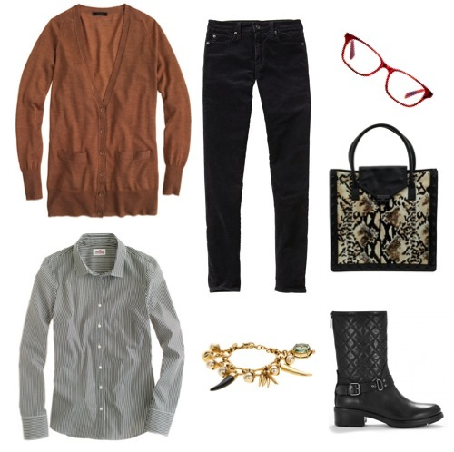 Merino wool long cardigan, striped shirt, charm bracelet by J. Crew.  High-rise skinny cords by Gap.  Quilted moto boots by Aquatalia.  Python print tote by Loeffler Randall.  Eyeglass frames by Warby Parker.
