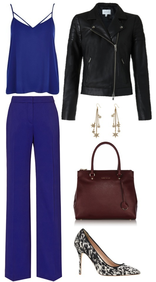 Strappy camisole   by River Island.    Cobalt straight leg trousers   by Reiss.    Biker jacket   by Jigsaw.    Calf-hair pumps  ,   earrings   by J. Crew.    Textured leather tote   by Karen Millen.