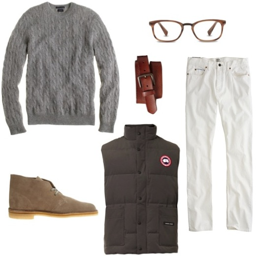 His c ashmere cable sweater   by J. Crew.    Quilted vest   by Canada Goose.    Desert boots   by Clarks.    Textured leather belt   by Gap.    Eyeglass frames   by Warby Parker.