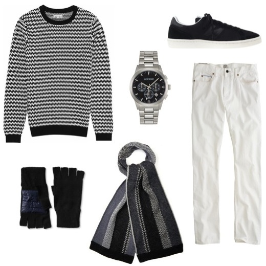 His c otton sweater   by Reiss.    Sneakers   by New Balance.    Striped scarf   by Paul Smith.    Fingerless gloves   by Banana Republic.    Stainless steel watch   by Jack Spade.