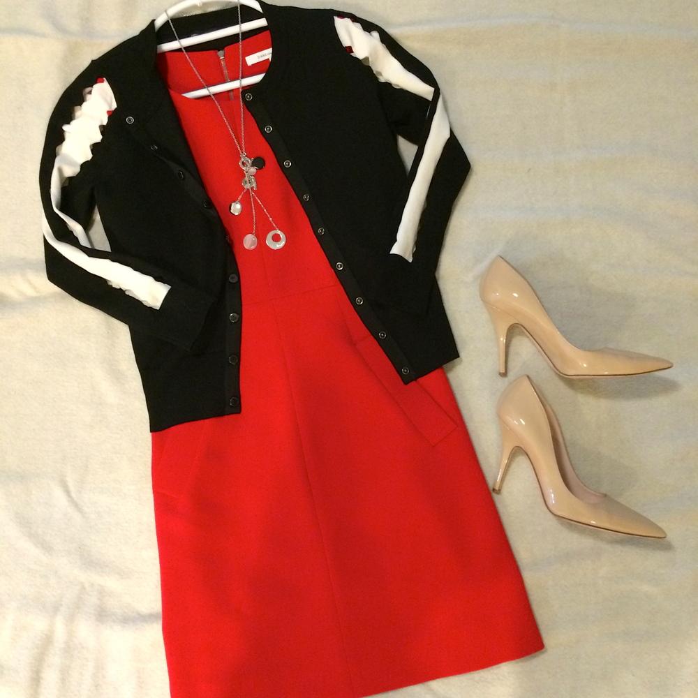 Red dress  by Diane Von Furstenberg.   Cardigan  by Karen Millen.   Nude patent heels  by Kate Spade.