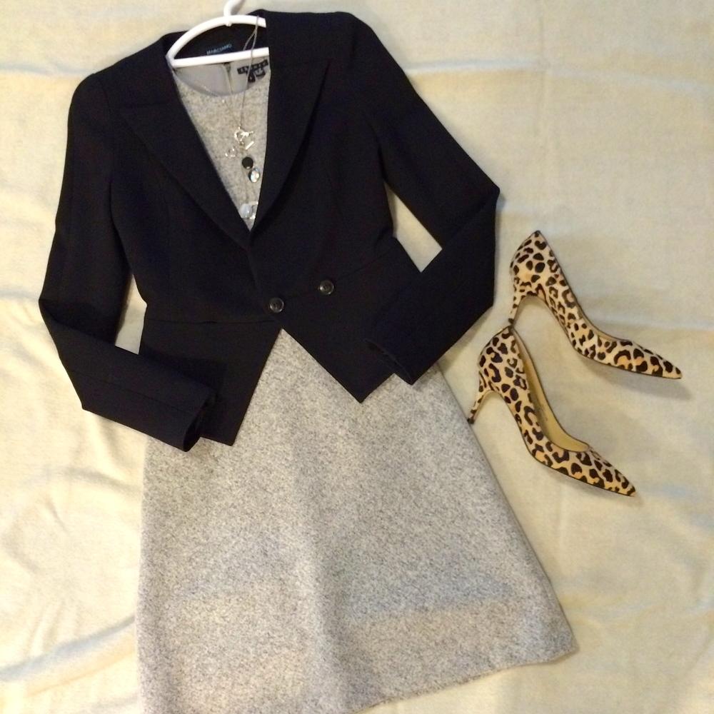 Grey wool dress by Theory. Cheetah print heelsby Ivanka Trump.