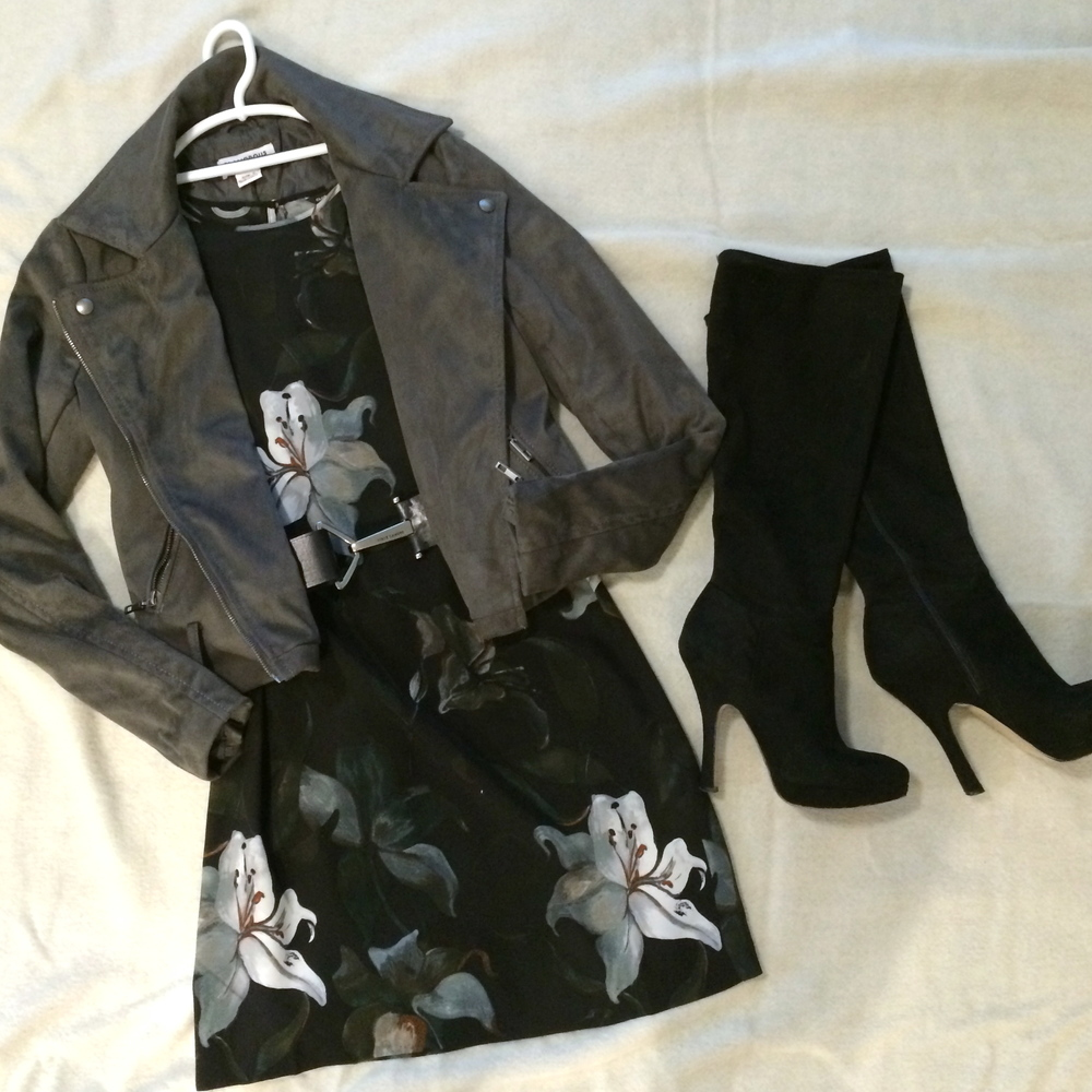 Faux suede moto jacket   by Glamorous.    Belt   by Vince Camuto.