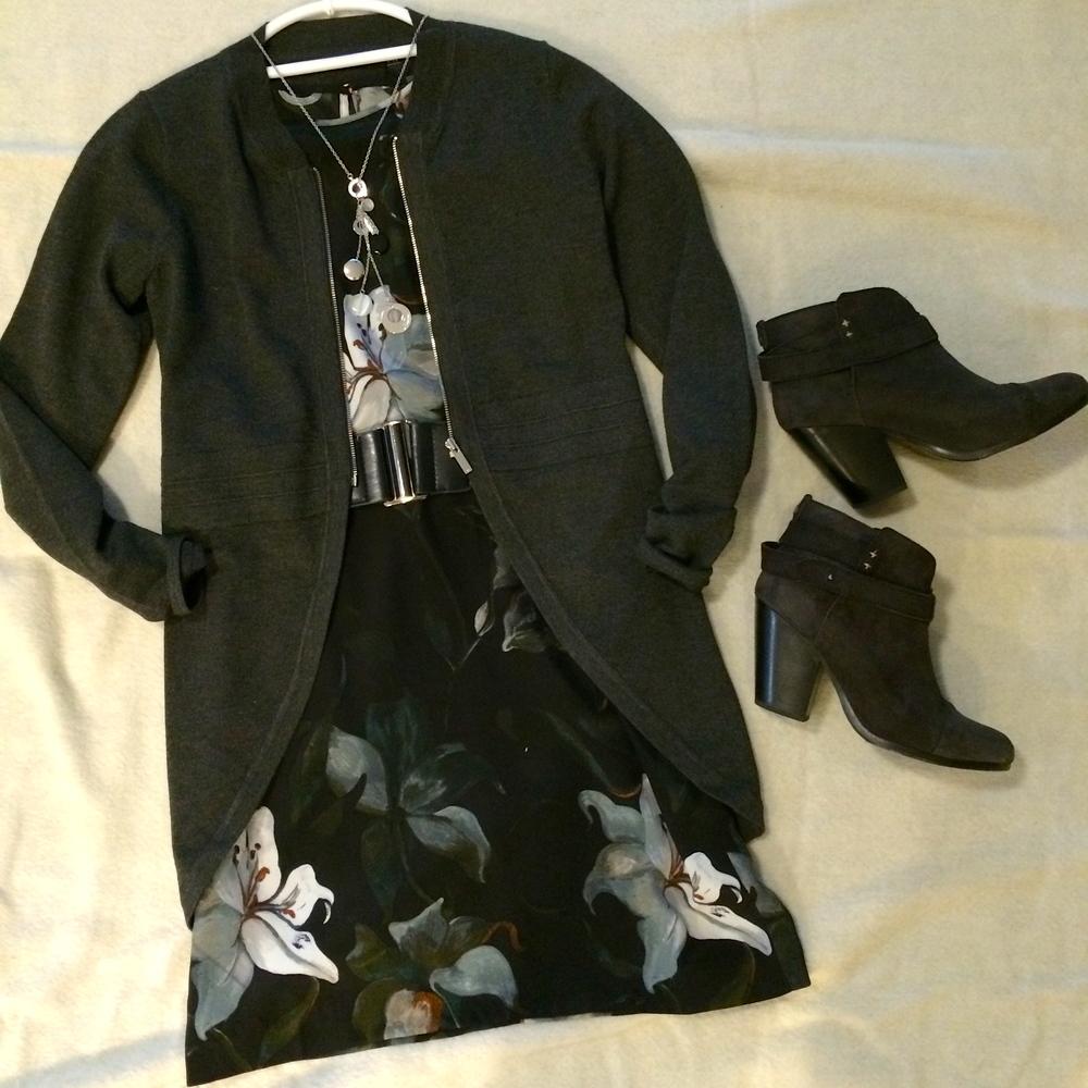 Long zip cardigan by Karen Millen. Black booties by Rag & Bone.