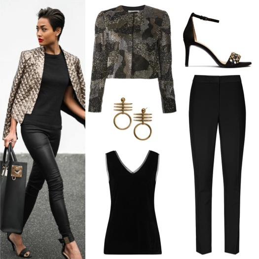 Cropped sequin jacket by Alice + Olivia, from Farfetch, $900. Mesh-trim top and tuxedo-style trousers by Reiss.  Earrings and embellished black sandals by Tory Burch.