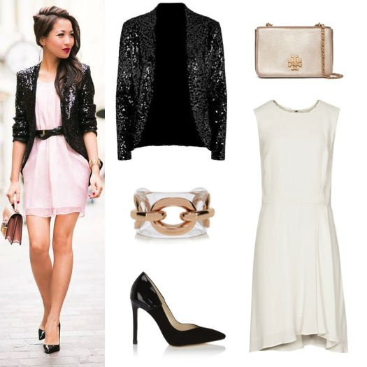 Black sequin jacket by HotSquash, from House of Fraser, $130. Ivory fit and flare dress by Reiss.  Light gold shoulder bag by Tory Burch.  Black heels and cuff by Karen Millen.