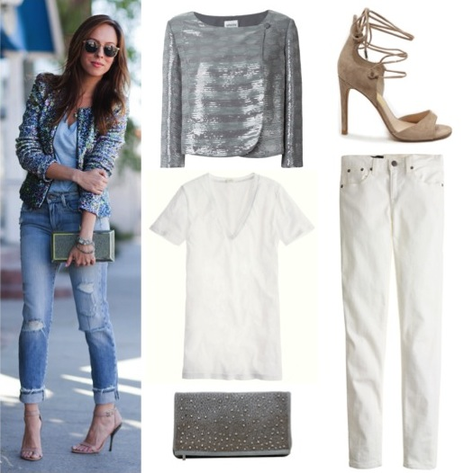 Silver sequin jacket by Armani Collezioni, from Farfetch, $645.11. White t-shirt and jeans by J. Crew.  Leather and rhinestone clutch by Alice + Olivia.  Lace-up heels by Dolce Vita.