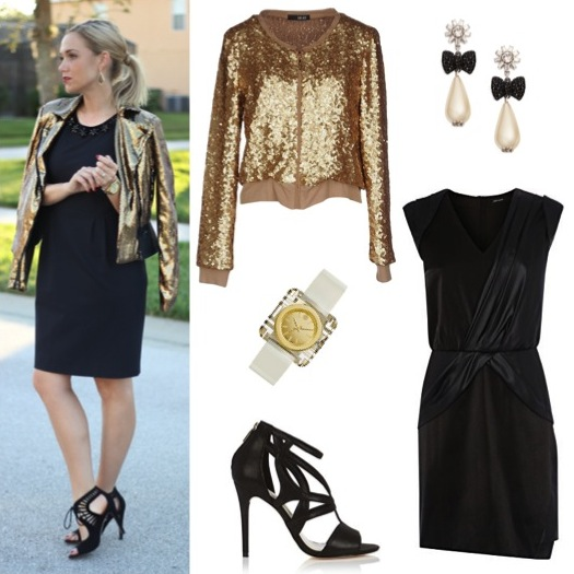 Gold sequin jacket by Liu Jo, from Yoox, $185. Black draped mini-dress and pearlized leather sandals by Karen Millen.  Pearl/crystal earrings and ivory patent/gold watch by Tory Burch.