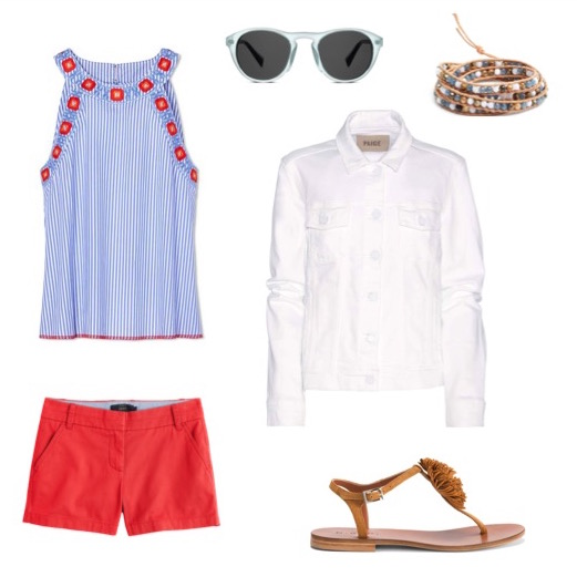 Striped cotton top   by Tory Burch.    Red shorts   by J. Crew.    White denim jacket   by Paige.    Suede pom-pom sandals   by M. Gemi.    Beaded leather bracelet   by Chan Lu.    Sunglasses   by Warby Parker.