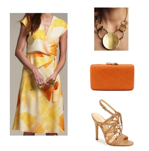 Yellow wrap dress by MM LaFleur.   Nude sandals by Ivanka Trump.  Necklace by Anthropologie.  Orange straw clutch by Halsbrook.