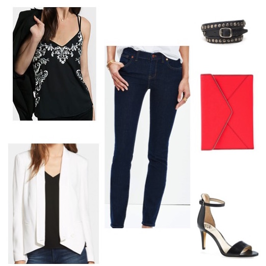 Embellished camisole by Express.  White blazer by Rebecca Minkoff.  Jeans from Kate's closet.  Black heels by Vince Camuto.  Red clutch by Rebecca Minkoff.  Leather wrap bracelet by Will Leather Goods.